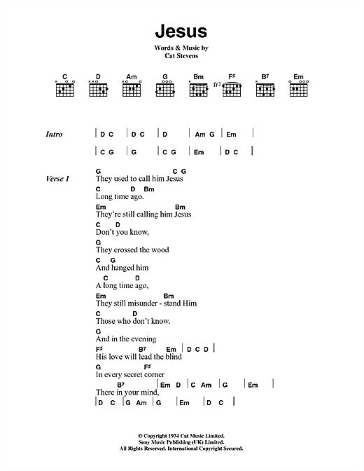Cat Stevens Jesus sheet music notes and chords. Download Printable PDF.