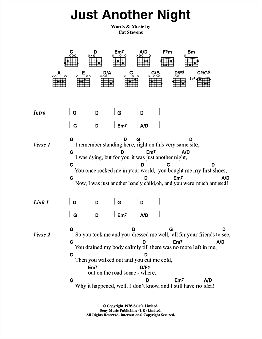 Cat Stevens Just Another Night sheet music notes and chords. Download Printable PDF.