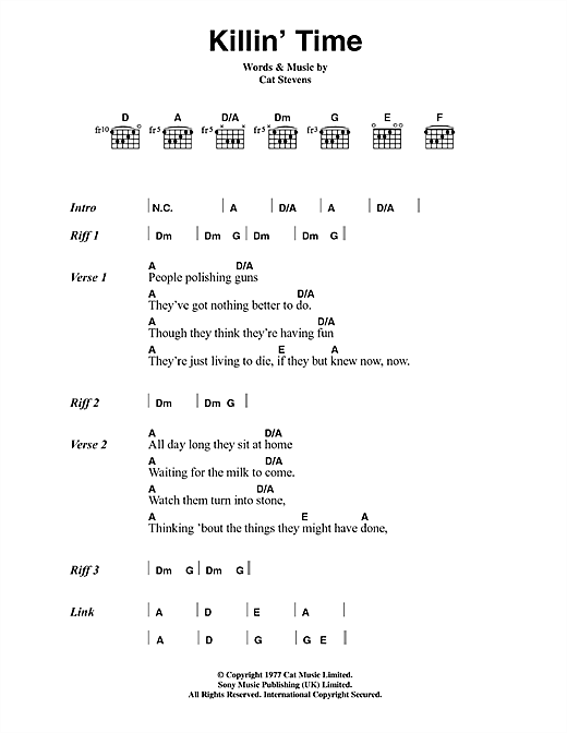 Cat Stevens Killin' Time sheet music notes and chords. Download Printable PDF.