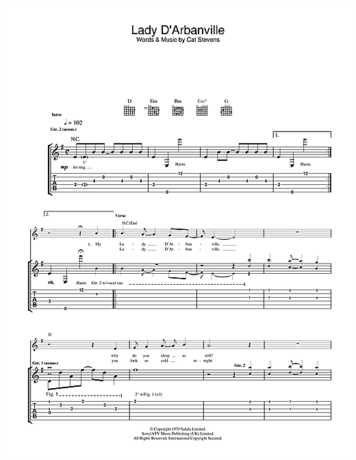 Cat Stevens Lady D'Arbanville sheet music notes and chords. Download Printable PDF.