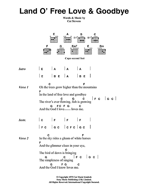 Cat Stevens Land O' Free Love & Goodbye sheet music notes and chords. Download Printable PDF.