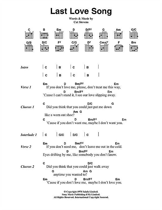 Cat Stevens Last Love Song sheet music notes and chords. Download Printable PDF.