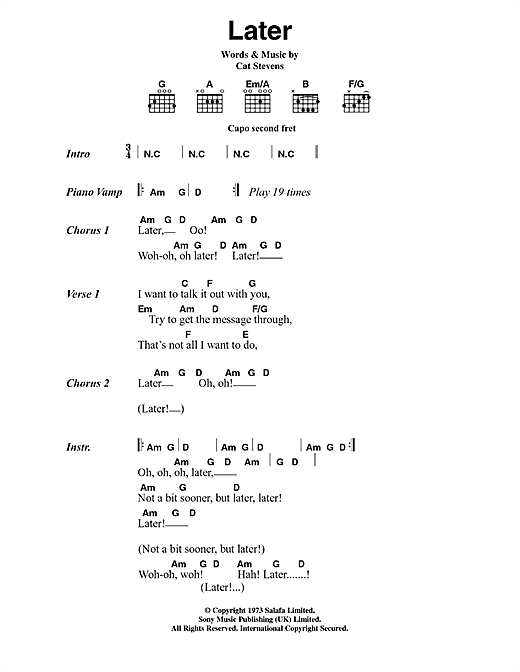 Cat Stevens Later sheet music notes and chords. Download Printable PDF.