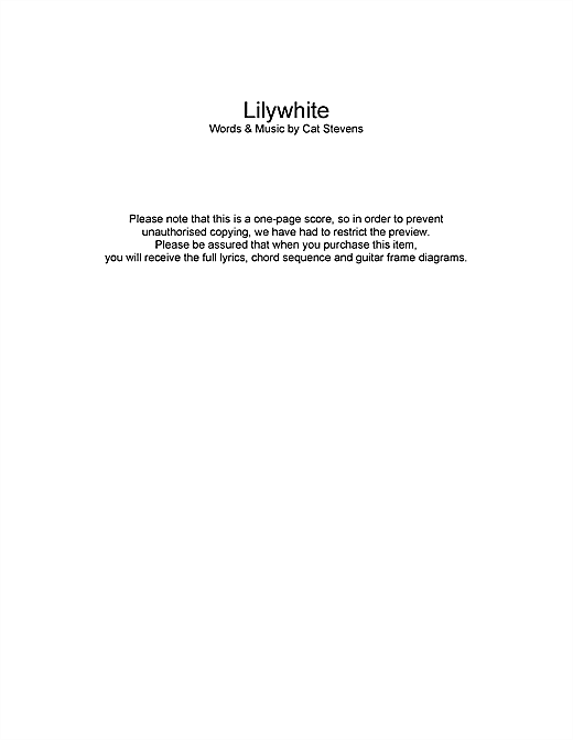Cat Stevens Lilywhite sheet music notes and chords. Download Printable PDF.