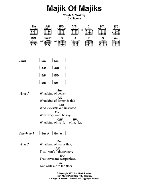 Cat Stevens Majik Of Majiks sheet music notes and chords. Download Printable PDF.
