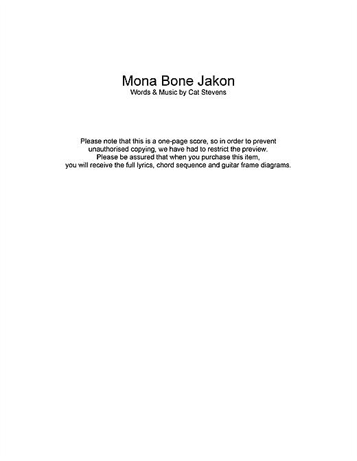 Cat Stevens Mona Bone Jakon sheet music notes and chords. Download Printable PDF.