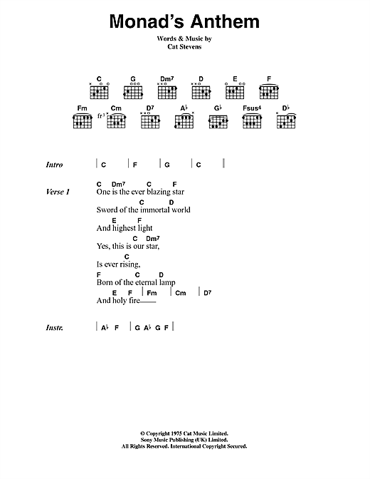 Cat Stevens Monad's Anthem sheet music notes and chords. Download Printable PDF.