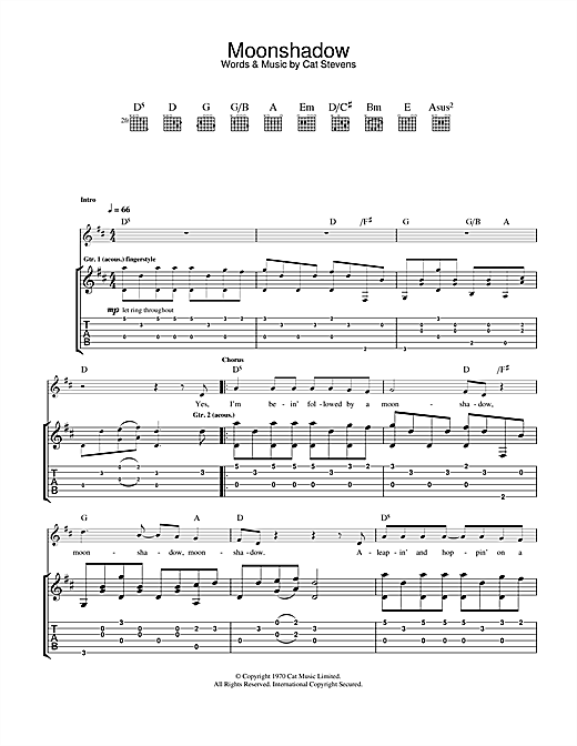 Cat Stevens Moonshadow sheet music notes and chords. Download Printable PDF.