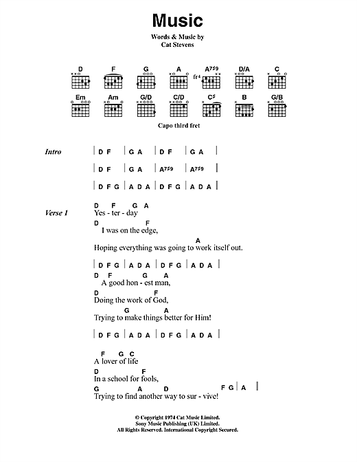 Cat Stevens Music sheet music notes and chords. Download Printable PDF.