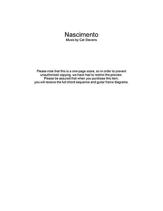 Cat Stevens Nascimento sheet music notes and chords. Download Printable PDF.