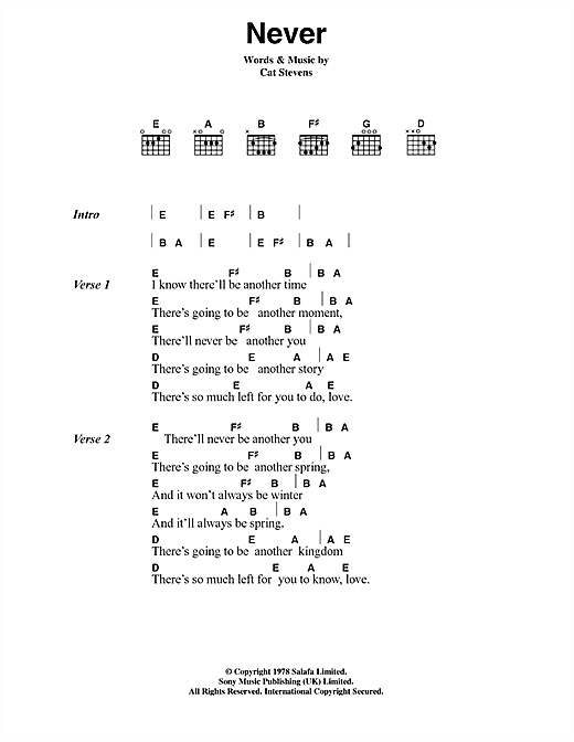 Cat Stevens Never sheet music notes and chords. Download Printable PDF.