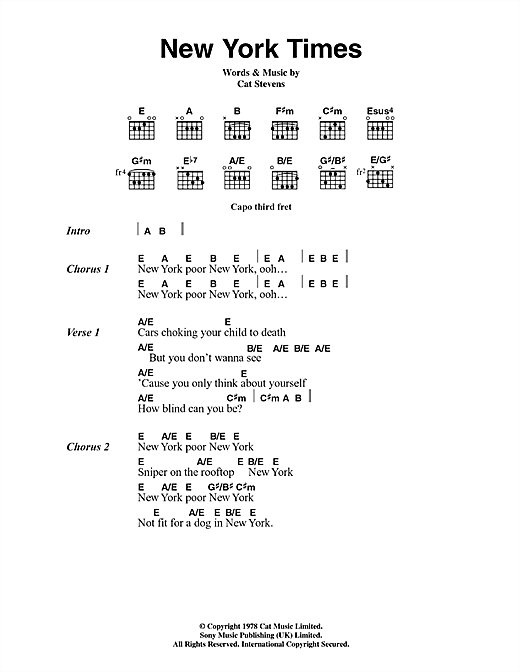 Cat Stevens New York Times sheet music notes and chords. Download Printable PDF.