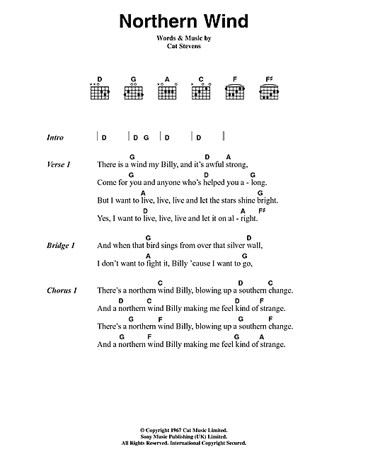 Cat Stevens Northern Wind sheet music notes and chords. Download Printable PDF.