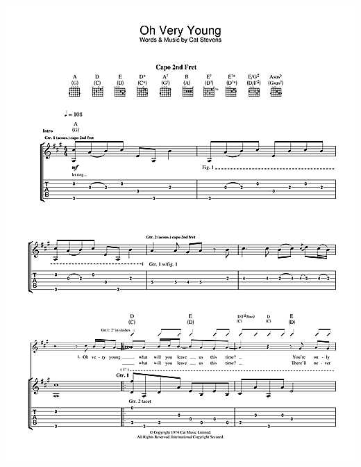 Cat Stevens Oh Very Young sheet music notes and chords. Download Printable PDF.