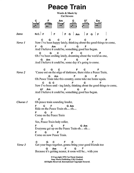 Cat Stevens Peace Train sheet music notes and chords. Download Printable PDF.