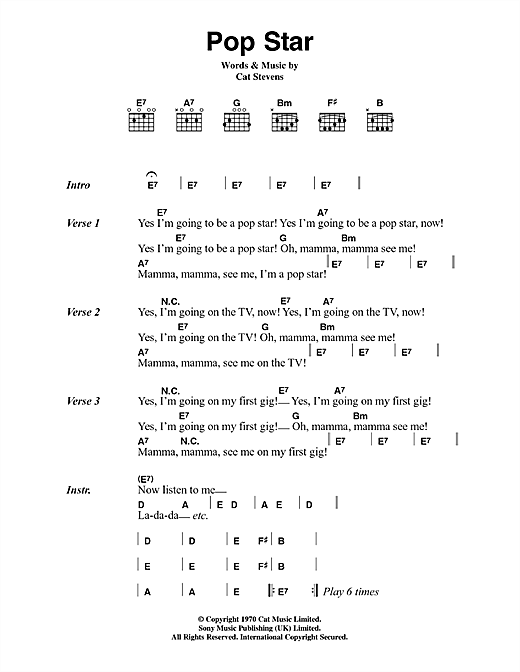 Cat Stevens Pop Star sheet music notes and chords. Download Printable PDF.