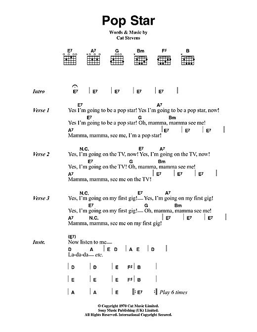 Cat Stevens Pop Star sheet music notes and chords