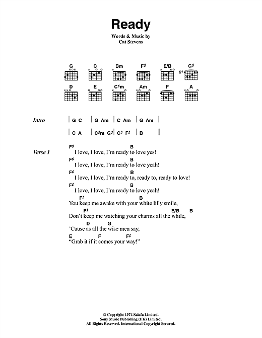 Cat Stevens Ready sheet music notes and chords. Download Printable PDF.