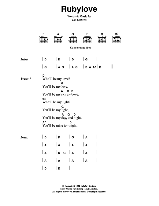 Cat Stevens Rubylove sheet music notes and chords. Download Printable PDF.