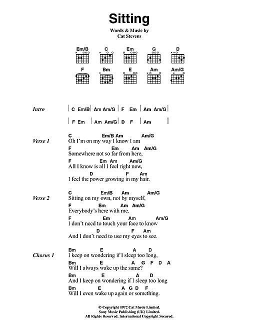 Cat Stevens Sitting sheet music notes and chords. Download Printable PDF.