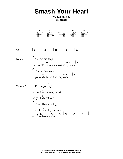 Cat Stevens Smash Your Heart sheet music notes and chords. Download Printable PDF.