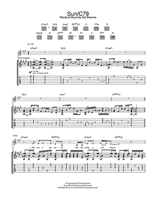 Cat Stevens Sun/C79 sheet music notes and chords. Download Printable PDF.