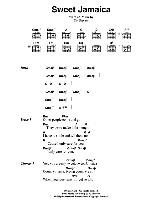 Cat Stevens Sweet Jamaica sheet music notes and chords. Download Printable PDF.