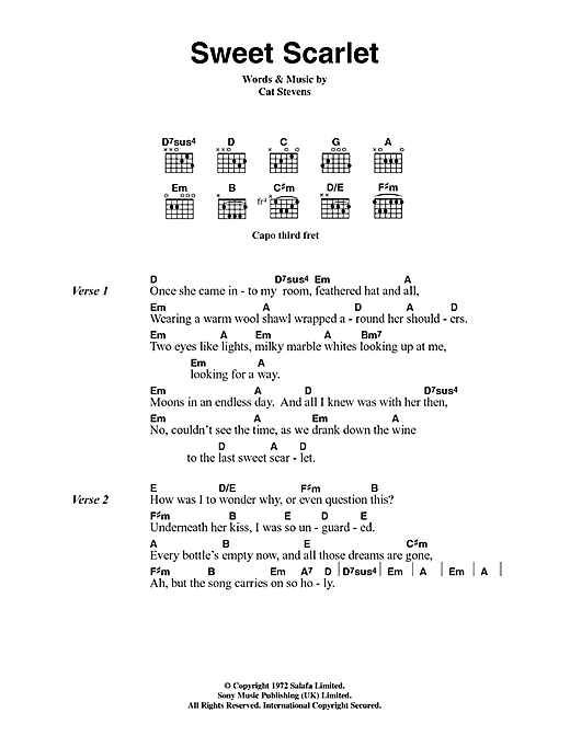 Cat Stevens Sweet Scarlet sheet music notes and chords. Download Printable PDF.