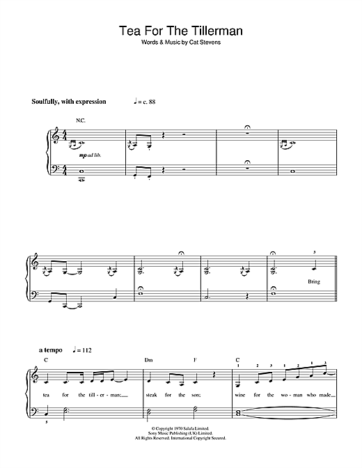 Cat Stevens Tea For The Tillerman (closing theme from Extras) sheet music notes and chords. Download Printable PDF.