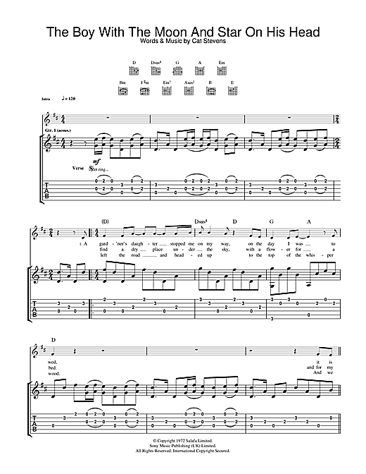 Cat Stevens The Boy With The Moon And Star On His Head sheet music notes and chords. Download Printable PDF.