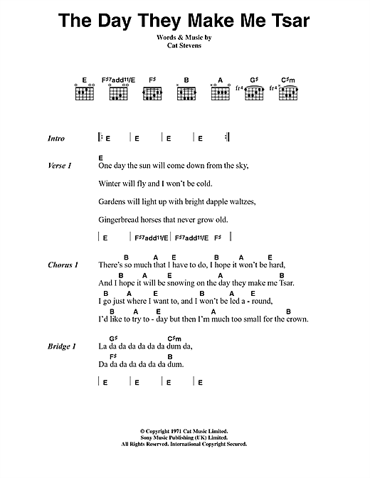 Cat Stevens The Day They Make Me Tsar sheet music notes and chords. Download Printable PDF.