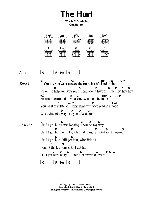 Cat Stevens The Hurt sheet music notes and chords. Download Printable PDF.