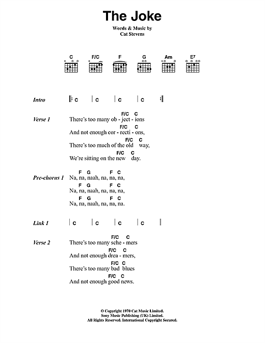 Cat Stevens The Joke sheet music notes and chords. Download Printable PDF.