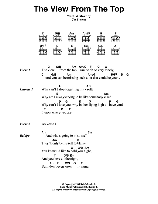 Cat Stevens The View From The Top sheet music notes and chords. Download Printable PDF.