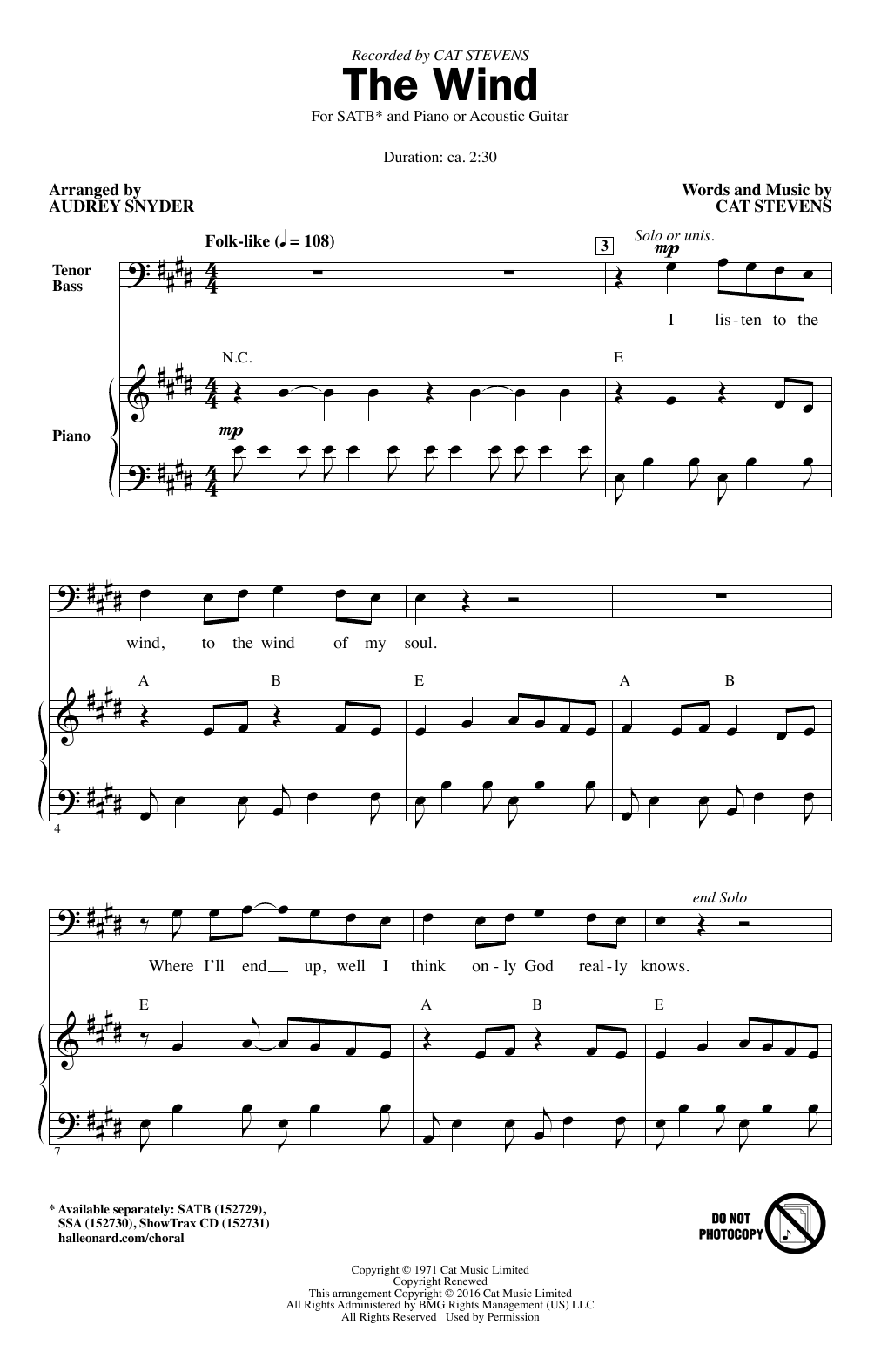 Cat Stevens The Wind (arr. Audrey Snyder) sheet music notes and chords. Download Printable PDF.