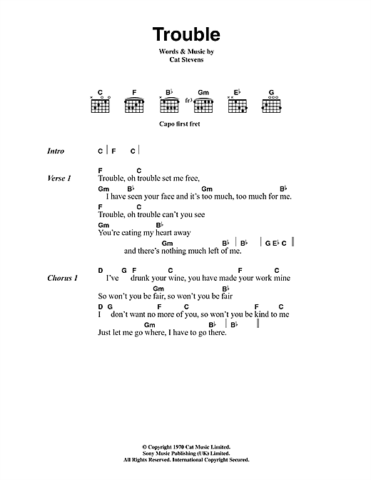 Cat Stevens Trouble sheet music notes and chords. Download Printable PDF.