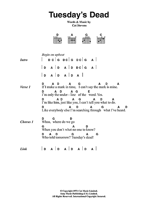 Cat Stevens Tuesday's Dead sheet music notes and chords. Download Printable PDF.