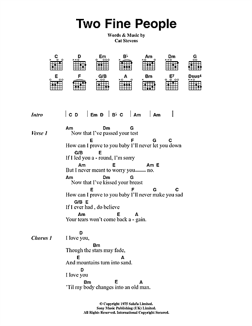 Cat Stevens Two Fine People sheet music notes and chords. Download Printable PDF.