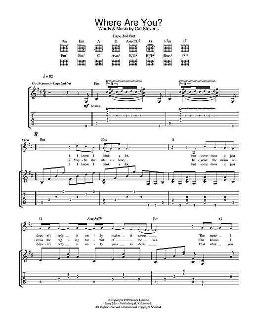 Cat Stevens Where Are You? sheet music notes and chords. Download Printable PDF.
