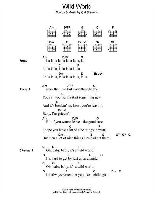 Cat Stevens Wild World sheet music notes and chords. Download Printable PDF.