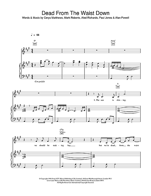 Catatonia Dead From The Waist Down sheet music notes and chords. Download Printable PDF.