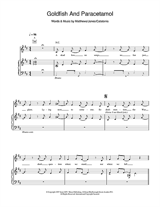 Catatonia Goldfish And Paracetamol sheet music notes and chords
