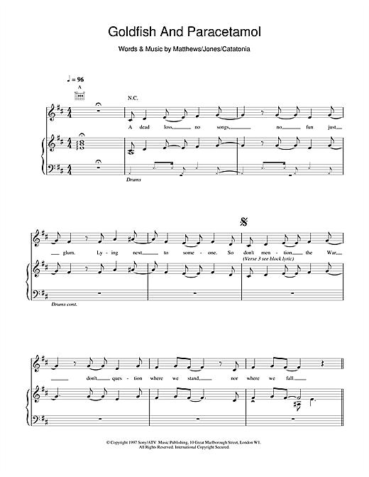 Catatonia Goldfish And Paracetamol sheet music notes and chords. Download Printable PDF.