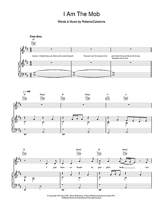 Catatonia I Am The Mob sheet music notes and chords
