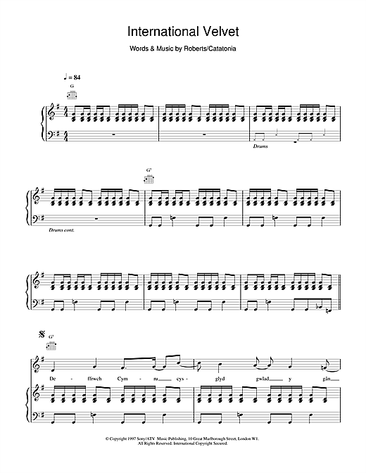 Catatonia International Velvet sheet music notes and chords. Download Printable PDF.