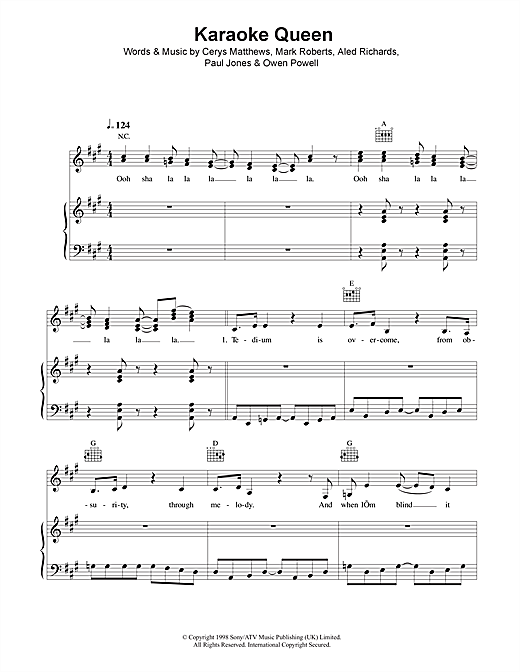 Catatonia Karaoke Queen sheet music notes and chords. Download Printable PDF.