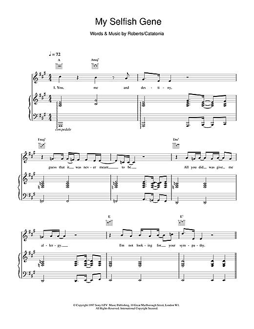 Catatonia My Selfish Gene sheet music notes and chords