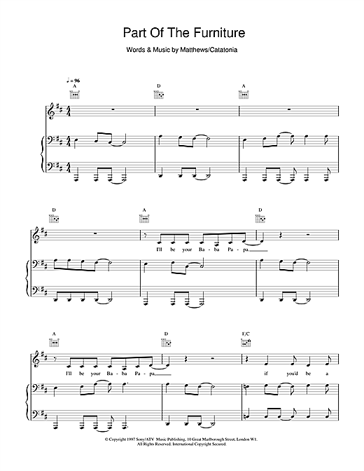 Catatonia Part Of The Furniture sheet music notes and chords