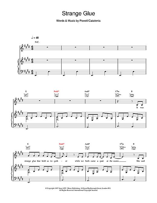 Catatonia Strange Glue sheet music notes and chords. Download Printable PDF.