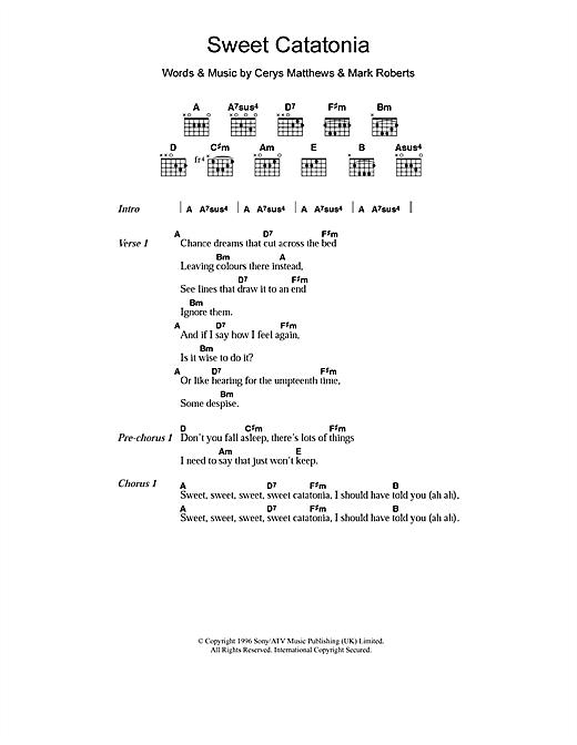Catatonia Sweet Catatonia sheet music notes and chords. Download Printable PDF.